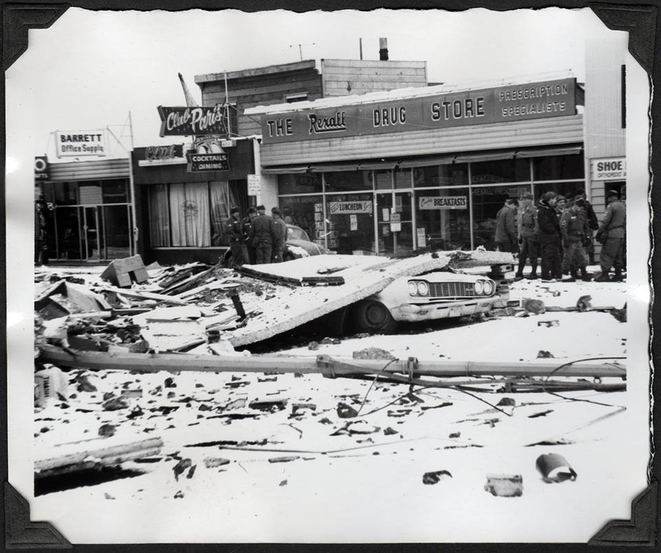 Damage of Hewitt's Drug Store 1964 after Anchorage earthquake