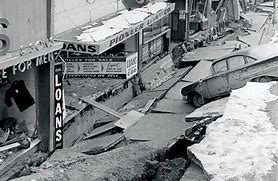 Part of 4th Avenue sank below street level during the 1964 earthquake.