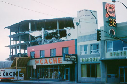 The downtown Anchorage Book Cache after the 1964 quake
