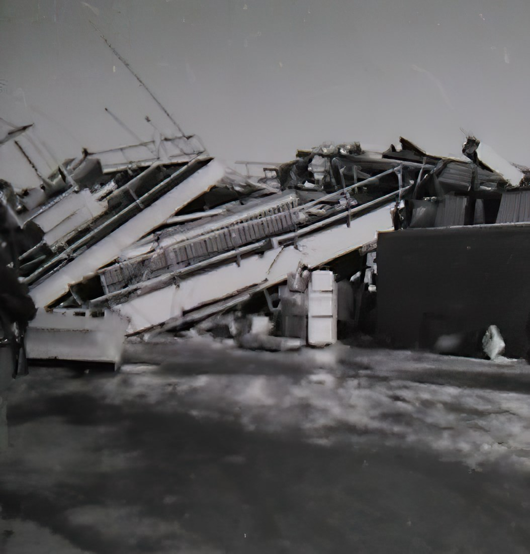 unrecognizable damage from the 1964 earthquake in Anchorage