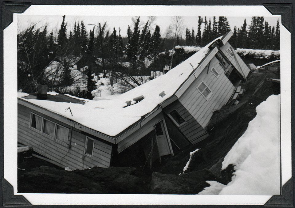 Home torn in half by the 1964 Alaska earthquake