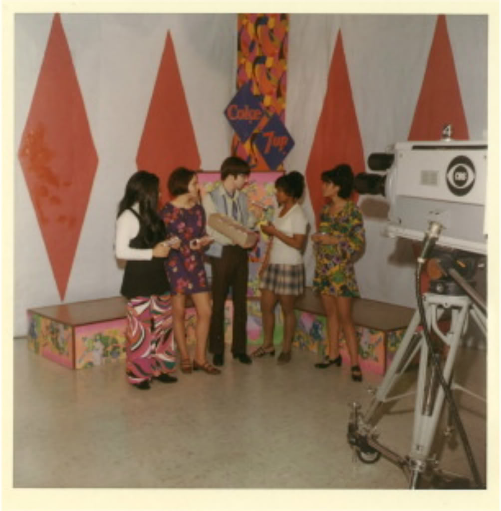 1968 show host Mike Ray with staff dancers