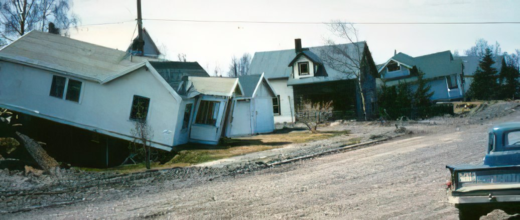 Damaged jumbled homes in Anchorage following the 64 quake