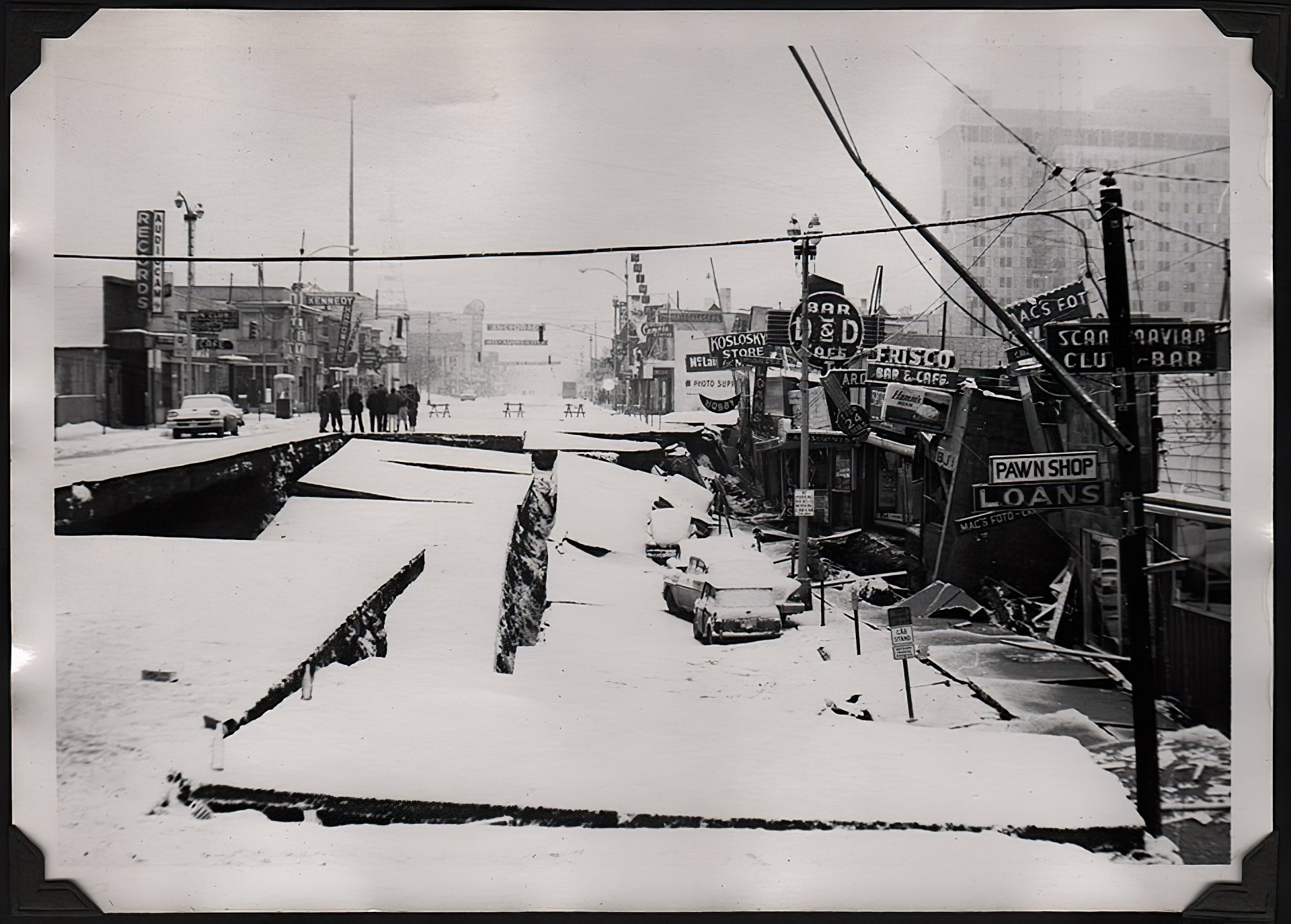 Downtown Anchorage, Alaska's 4th Avenue after the 1964 earthquake