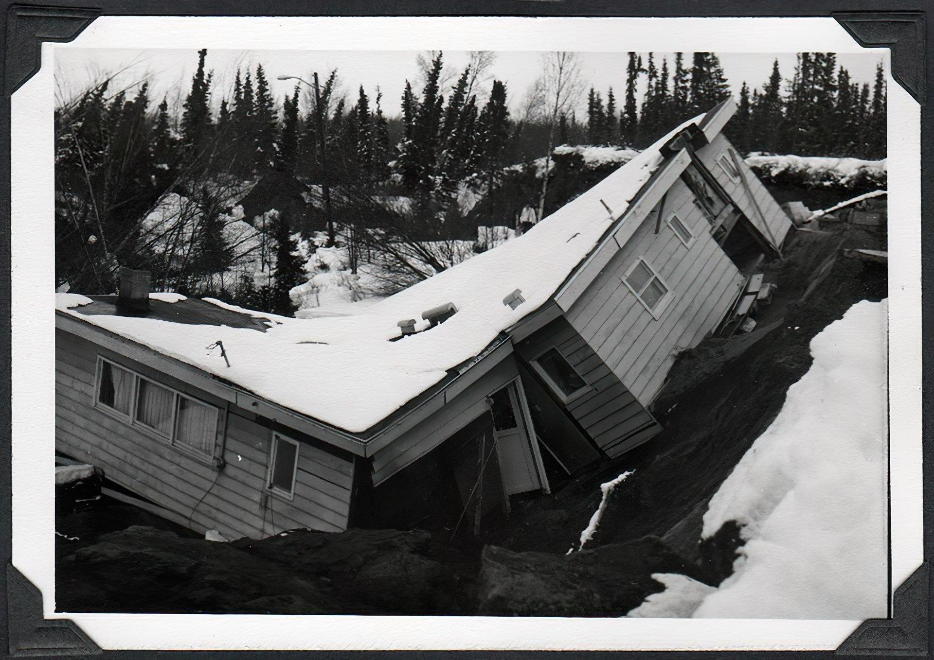 Home torn in half by the 1964 Alaska earthquake
