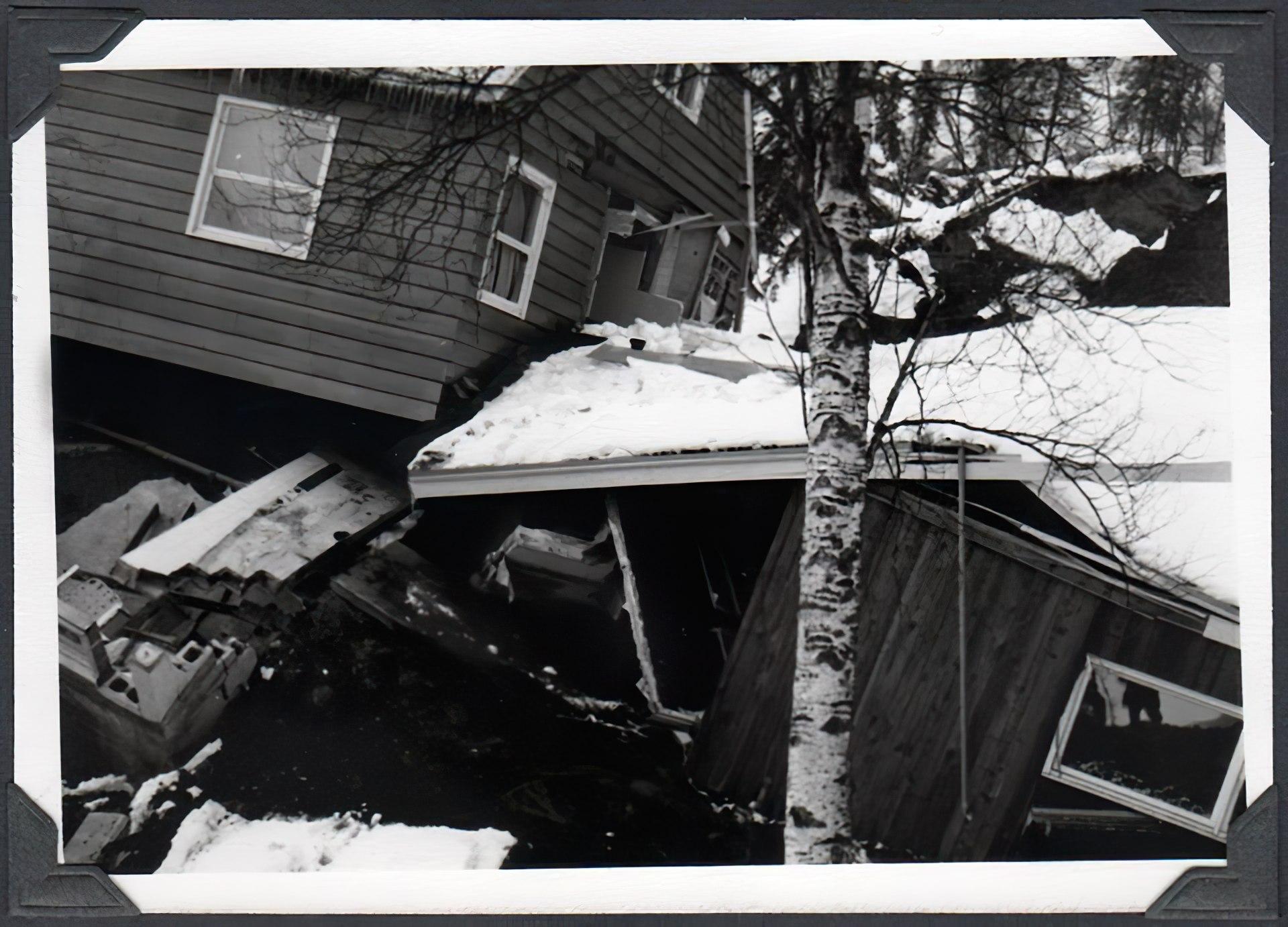 Incredible damage to homes in the Great Alaskan 1964 quake
