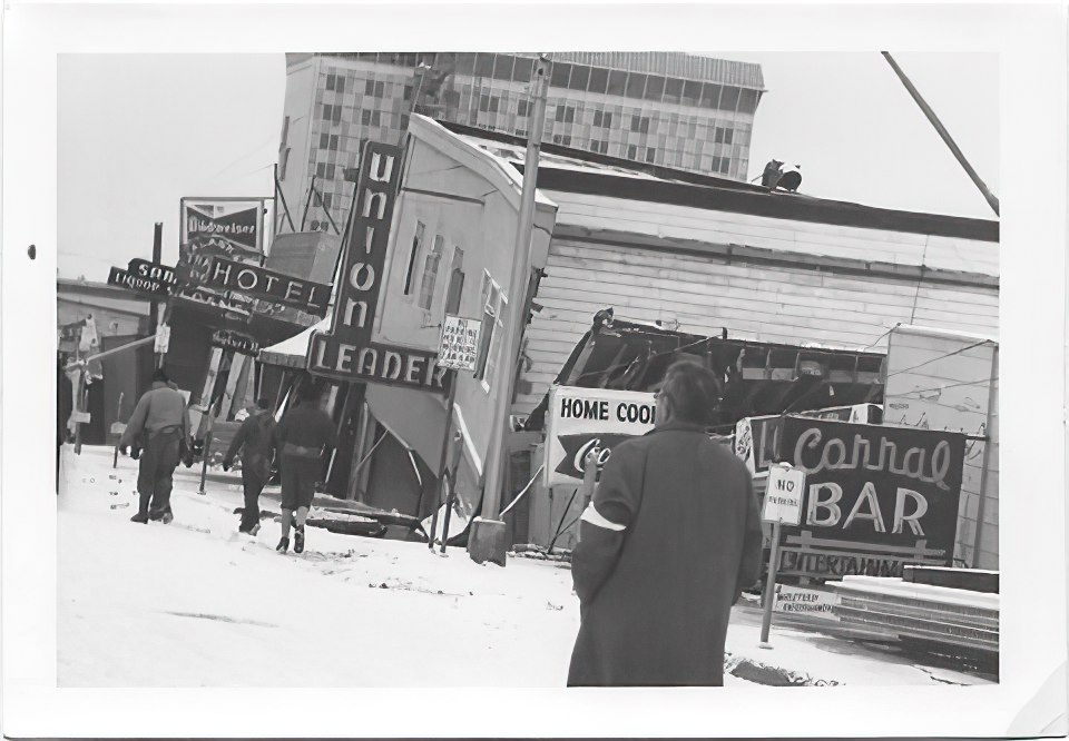 Downtown Anchorage stores destroyed during the Good Friday 1964 quake