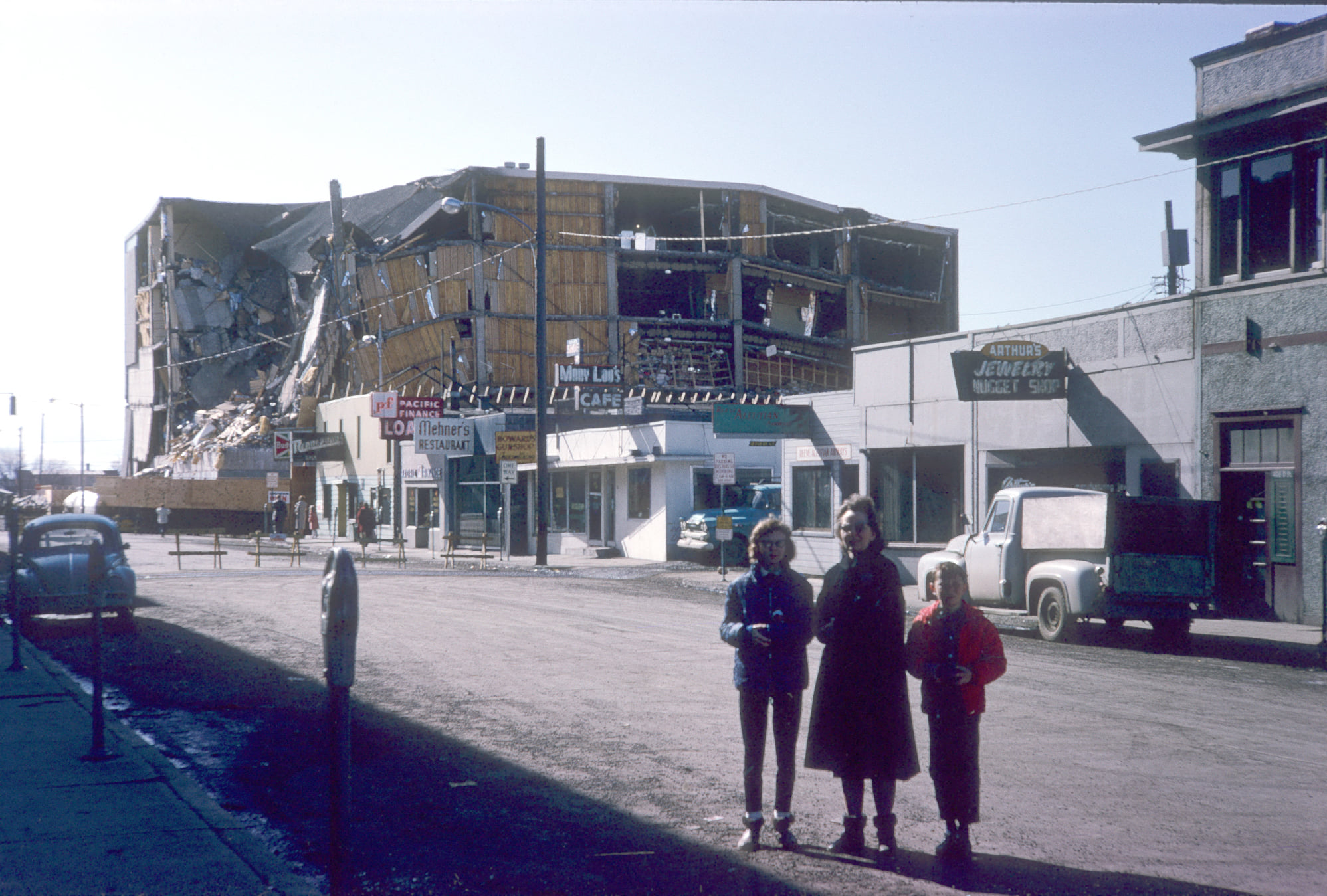 Destroyed JC Penney building in downtown Anchorage.