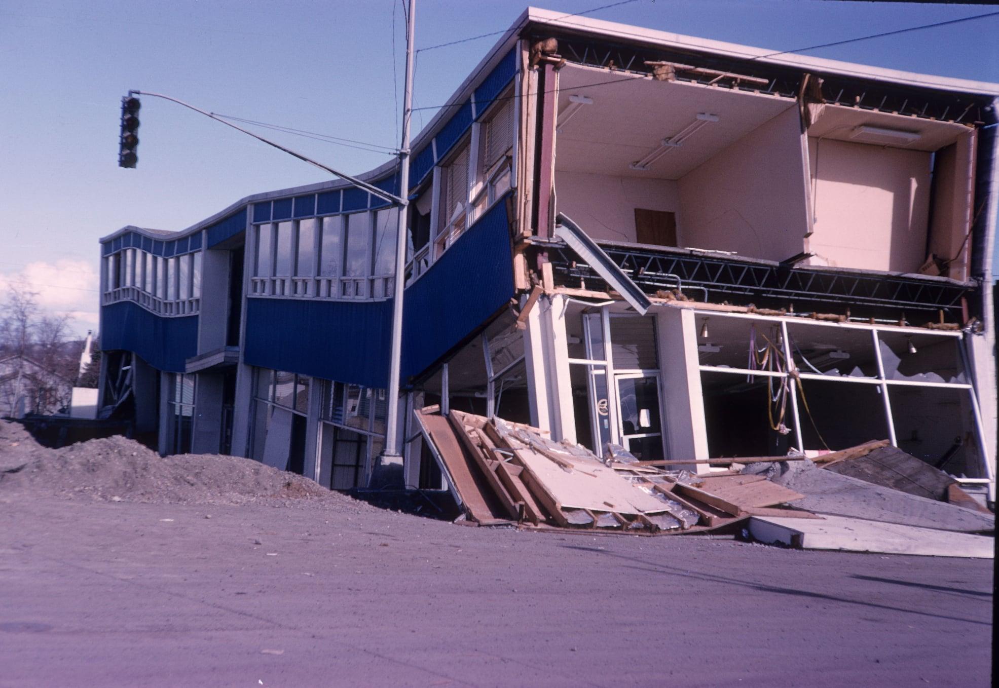 1964 Quake damaged Bagoy Florist building in Anchorage.