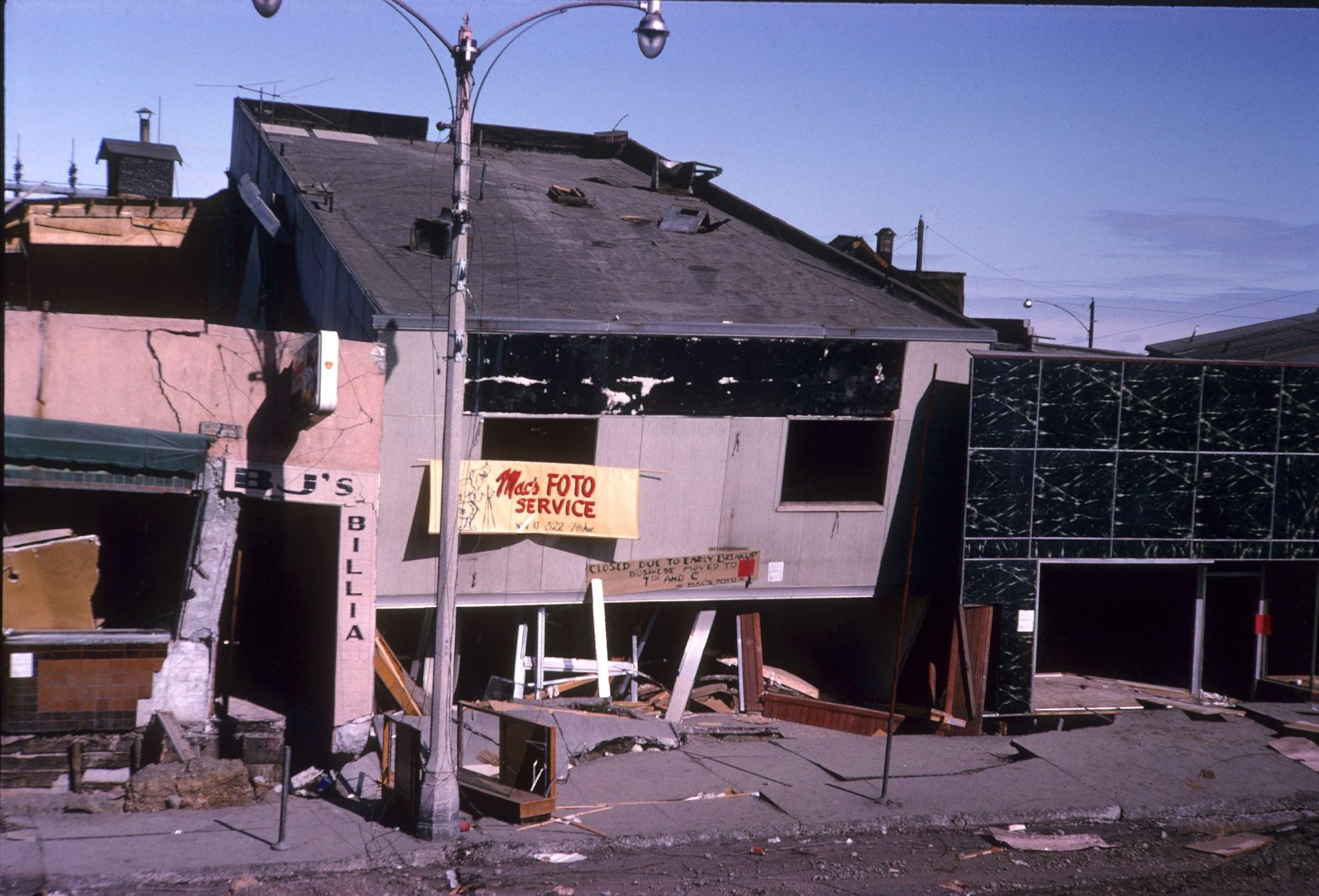 Abandoned businesses after the 1964 Alaska earthquake